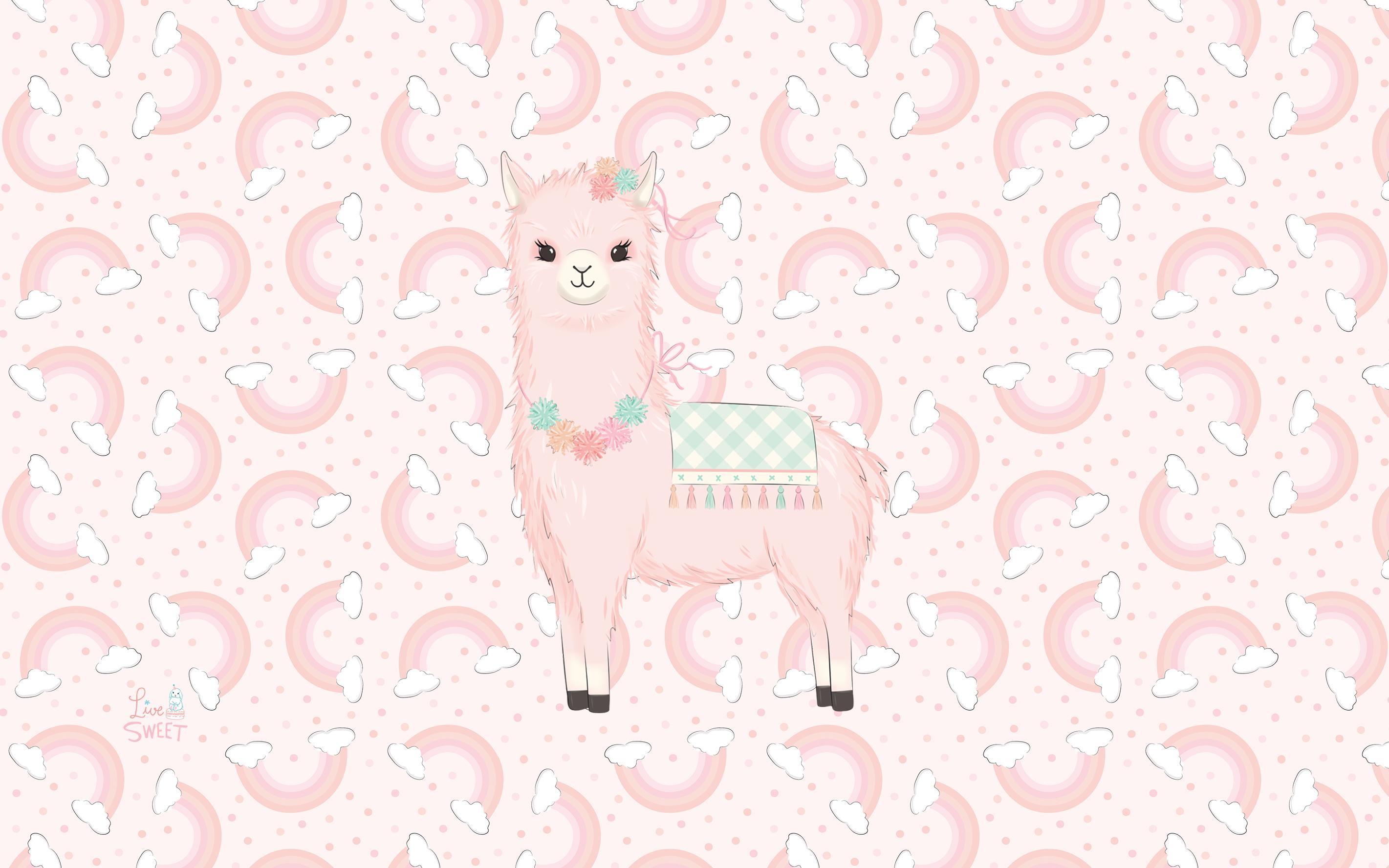 llama fabric wallpaper gift wrap